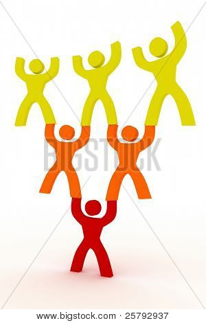 person holding the others symbolizing responsibility/leadership
