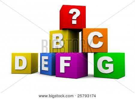 blocks with the letters of the alphabet and a question mark
