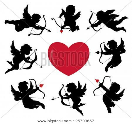 set of cute cupid silhouettes
