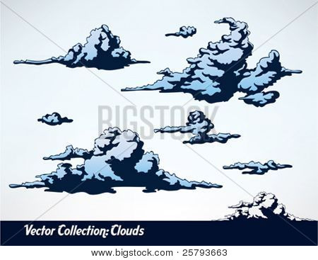 a set of comic style vector clouds