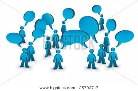 a group of people with speech bubbles above them