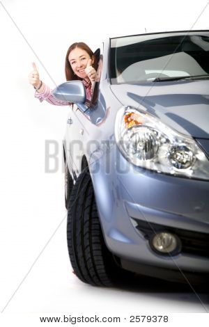 Happy With Her New Car
