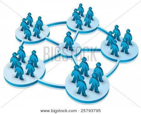 illustration of a person connected to different groups