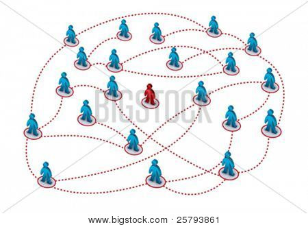 one person isolated from the others in a network