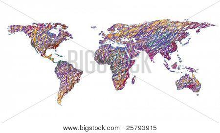 drawn world map isolated on white background