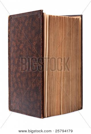 Antique brown hardback book with blank cover