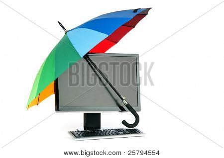Computer under protection of umbrella