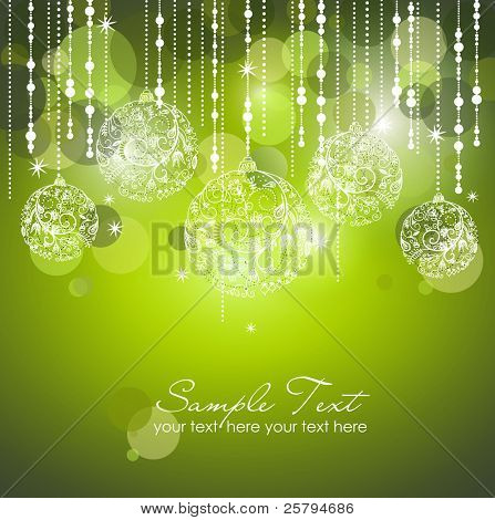 Green Christmas Background mit Christbaumschmuck