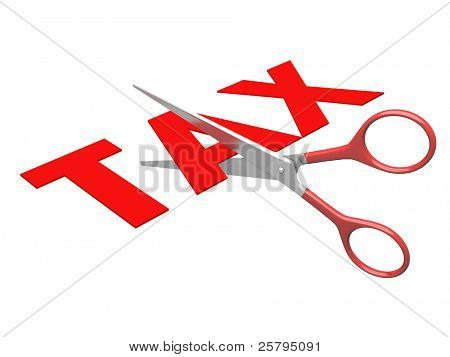 3d image of scissor cut tax text