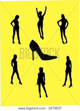Girls In High Heels Vector.Eps