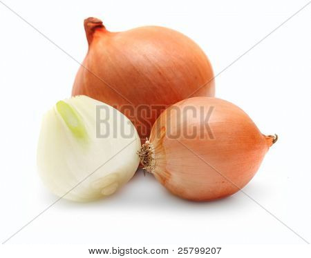 Ripe onion isolated on a white background