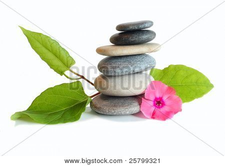 Flower and stones, isolated on white