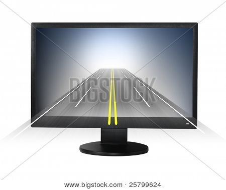 Internet concept. Lcd monitor with road forward.