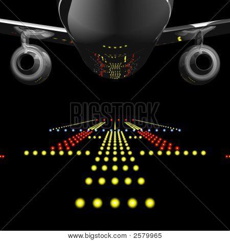 Avión de pasajeros y luces de pista