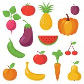 image of fruits vegetables  - Various Fruits and Vegetables - JPG