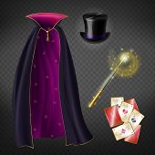 Vector Realistic Set With Illusionist Equipment For Tricks Isolated On Transparent Background. Magic poster