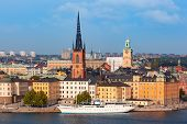 Scenic Summer Aerial View Of Gamla Stan In The Old Town In Stockholm, Capital Of Sweden poster