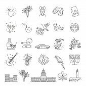 Cuba Icon Set. Outline Vector Icons Of Cuban Culture poster