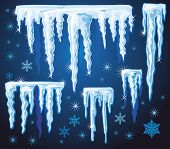 stock photo of icicle  - Set of vector icicles for design - JPG
