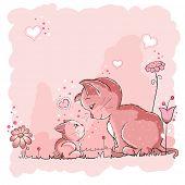 Постер, плакат: Мама кошка и её котенок baby объявление карточки