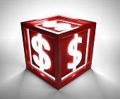 Red box with dollar sign - clipping path included