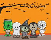 stock photo of frankenstein  - Cute Halloween card  - JPG