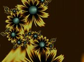 Fantasy Fractal Image With Flowers. Original Template With Place For Inserting Your Text. Fractal Ar poster