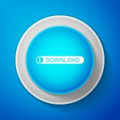White Download Button With Arrow Icon Isolated On Blue Background. Upload Button. Load Symbol. Circl poster