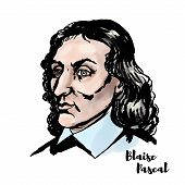 Blaise Pascal Watercolor Vector Portrait With Ink Contours. French Mathematician, Physicist, Invento poster