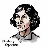 Nicolaus Copernicus Watercolor Vector Portrait With Ink Contours. Renaissance-era Mathematician And  poster