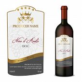 Vector Wine Label And Bottle Of Wine Mockup With This Label poster