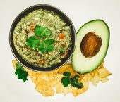 Guacamole Avocado With Chips Mexican Food Flat Lay Top View Isolated poster