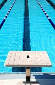 image of swim meet  - Starting block at end of swim lane - JPG