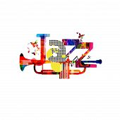 Jazz Music Typographic Colorful Background With Trumpet Vector Illustration. Artistic Music Festival poster
