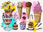 Colorful Set Of Ice Cream Chocolate Fruits Desserts. Ice Cream, Cream, Strawberry Dessert, Chocolate poster