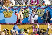PENSACOLA, FLORIDA - FEBRUARY 13: Revelers beg for beads at the Grand Mardi Gras parade in Pensacola