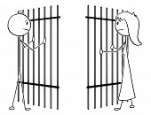 Cartoon Stick Drawing Conceptual Illustration Of Couple Of Man And Woman Divide By Prison Iron Bars. poster