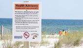 PERDIDO KEY, FL - JUNE 10:  A warning sign is posted at the beach as the oil washes ashore on June 1