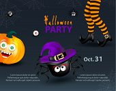 Halloween Holiday Design Party Template With Copy-space For Text. Happy Pumpkin With Funny Monster F poster