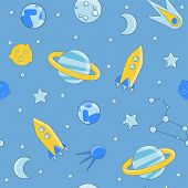Cartoon Flat Kids Space And Cosmos Science Seamless Pattern. Planet, Rockets, Stars And Other Space  poster