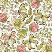 Seamless floral pattern from flowers and butterflies
