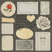 Set of the old torn paper, labels, hearts and pieces of wallpaper with decorative elements, stamps a