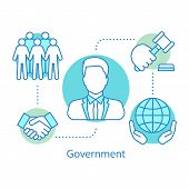 Government Concept Icon. Politics. Political System Idea Thin Line Illustration. International Relat poster