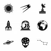 Galaxy Icons Set. Simple Illustration Of 9 Galaxy Icons For Web poster