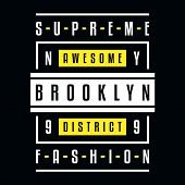 Vector Retro Illustration On The Theme Of Brooklyn. Supreme Fashion. Awesome District. Stylized Vint poster