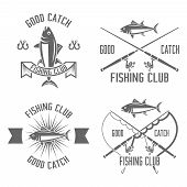 Fishing Club Set Of Vector Vintage Black Labels, Badges, Emblems Isolated On White Background, Fishi poster