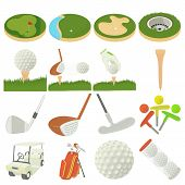 Golf Items Icons Set. Cartoon Illustration Of 16 Golf Items Icons For Web poster