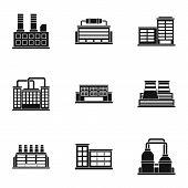 Production Plant Icons Set. Simple Illustration Of 9 Production Plant Icons For Web poster
