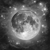 foto of full_moon  - Full Moon in the silver clouds of star dust - JPG