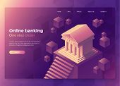 Online Banking Landing Page Concept. Isometric Illustration Of Bank On Geometric Background. 3d Vect poster
